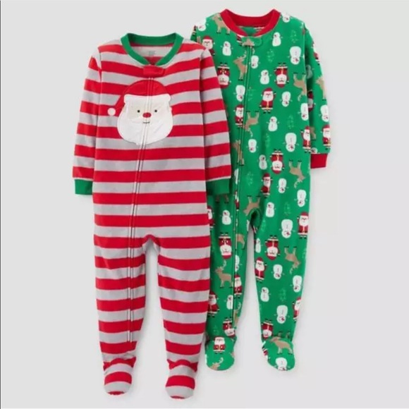 853c27ccdc Toddler Sz 12m Santa Clause Striped Footed Pajamas. NWT. Carter s